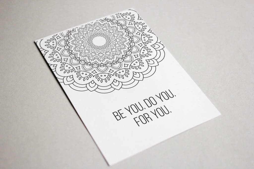 Be You. Do You. For You. Coloring Postcard