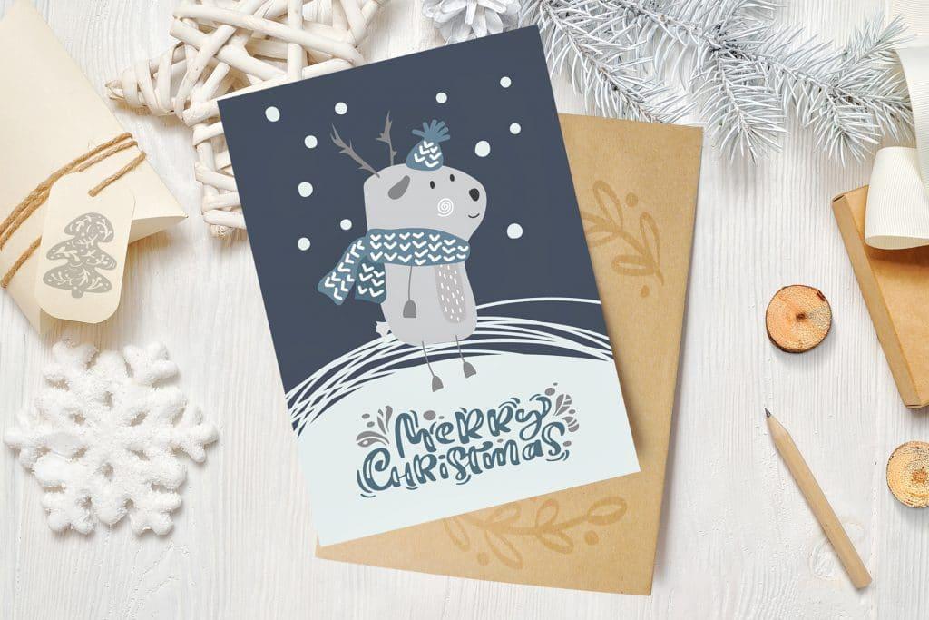Beautiful Greeting Card With Christmas Deer