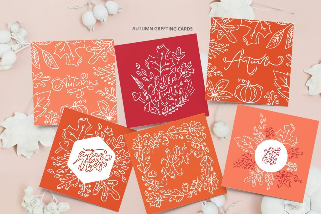 Bright gift cards with lovely autumn drawings