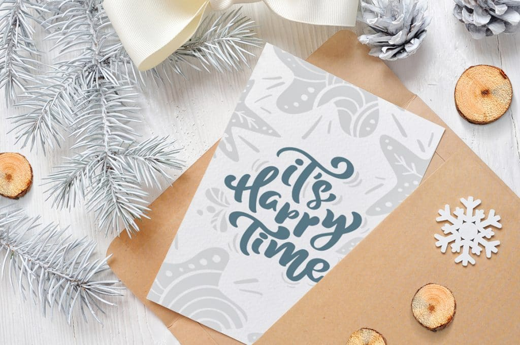 Charming Greeting Card With Christmas Lettering
