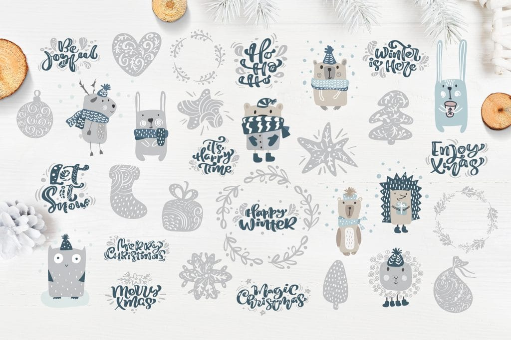 Christmas Lettering And Drawings For Winter And Christmas Design