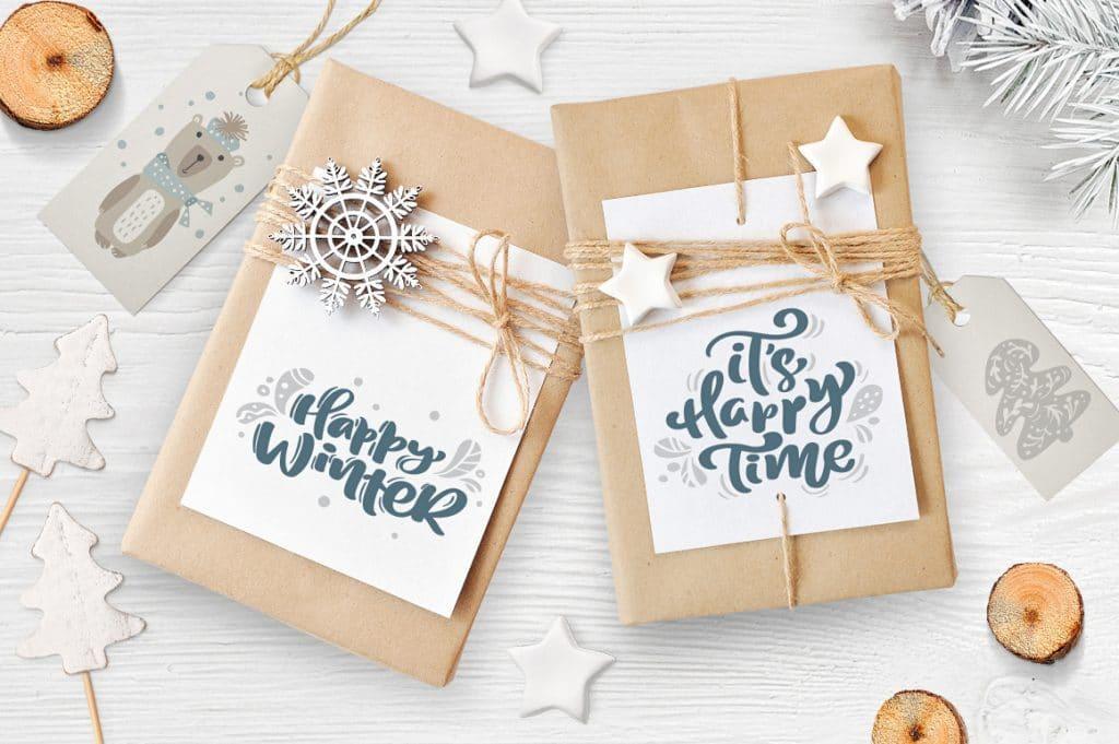 Christmas Lettering In Scandinavian Design For Gift Cards