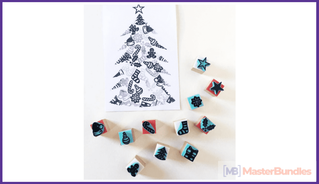 Christmas Rubber Stamps. Christmas Gifts for Artists