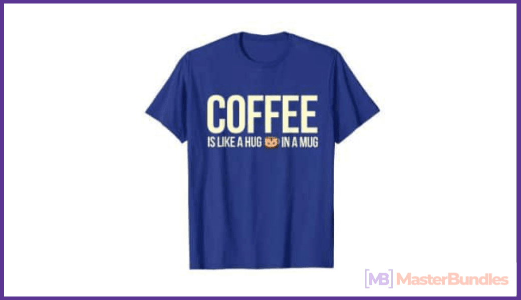 Blue T-shirt with original lettering for coffee lovers.