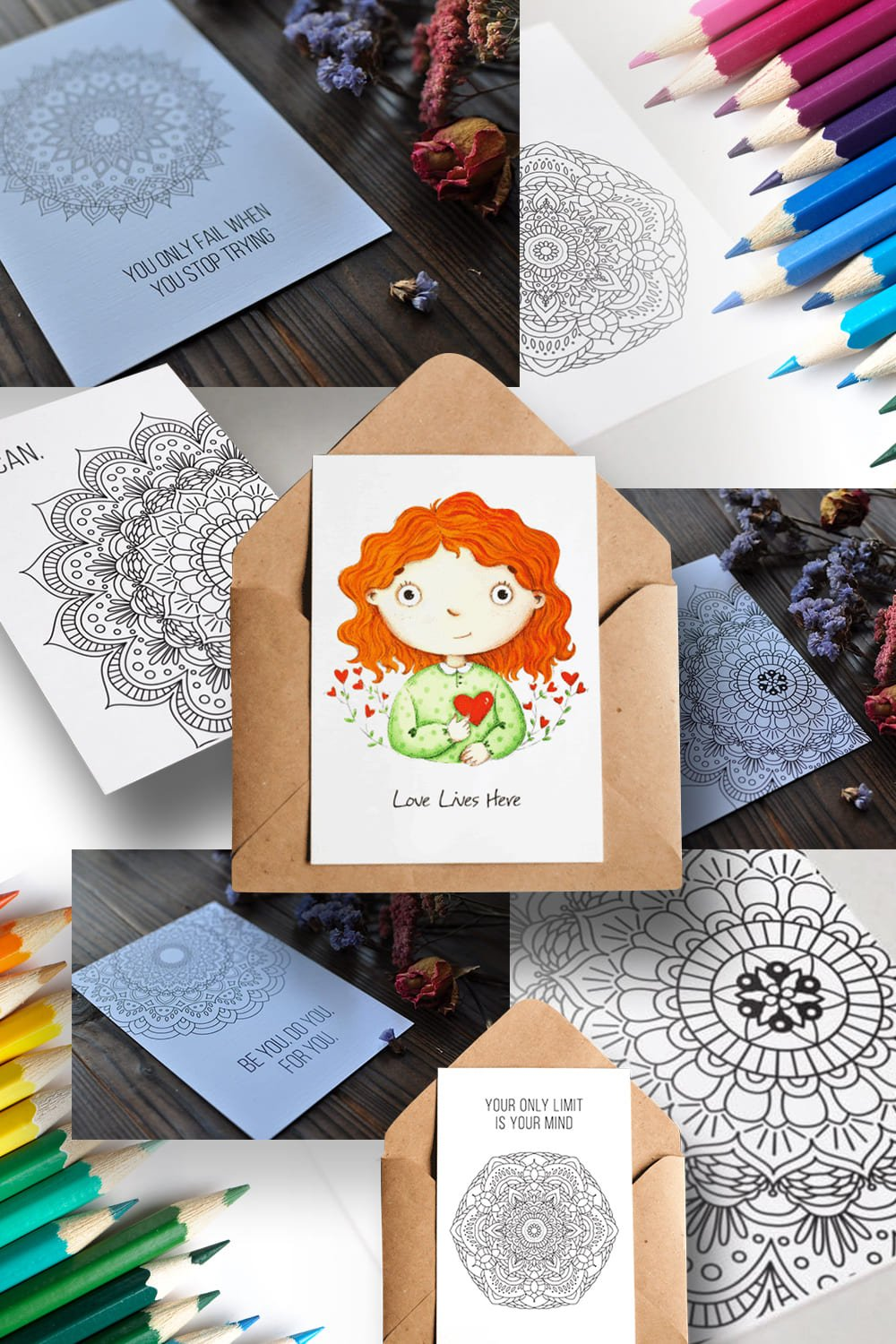 Best Coloring Cards For Adults. Pinterest Image.