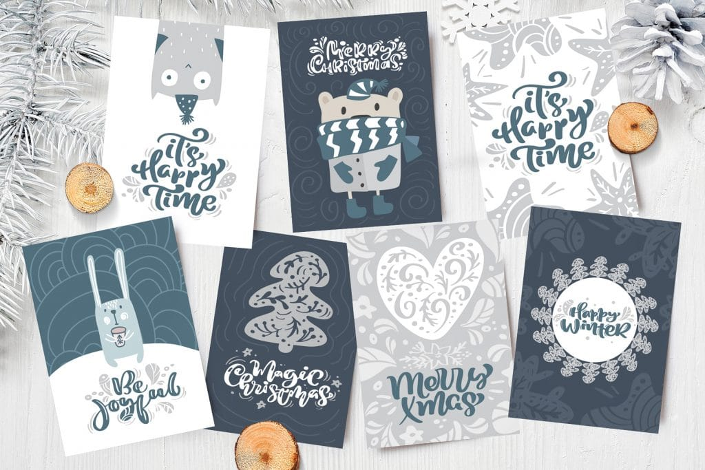 Gift Cards With Cute Christmas Animals, Trees And Lettering