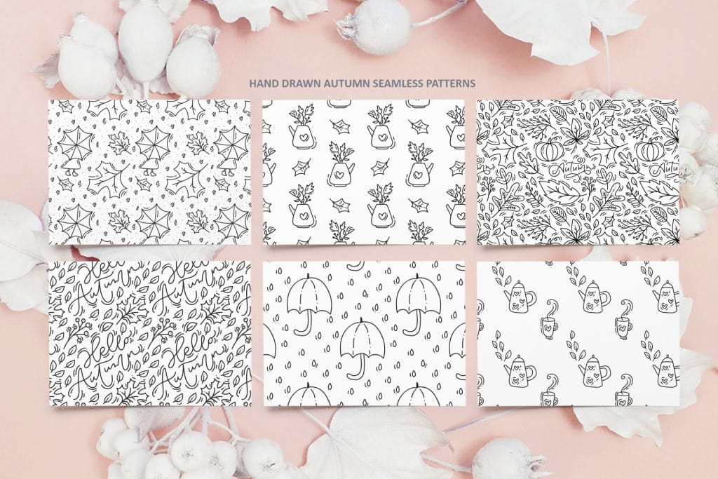 Hand drawn autumn seamless patterns