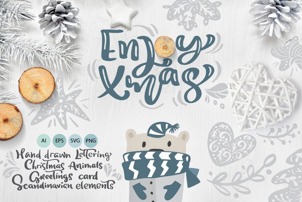 100+ Christmas Clipart Images 2020: Free & Premium - hand drawn christmas lettering in scandinavian design 01