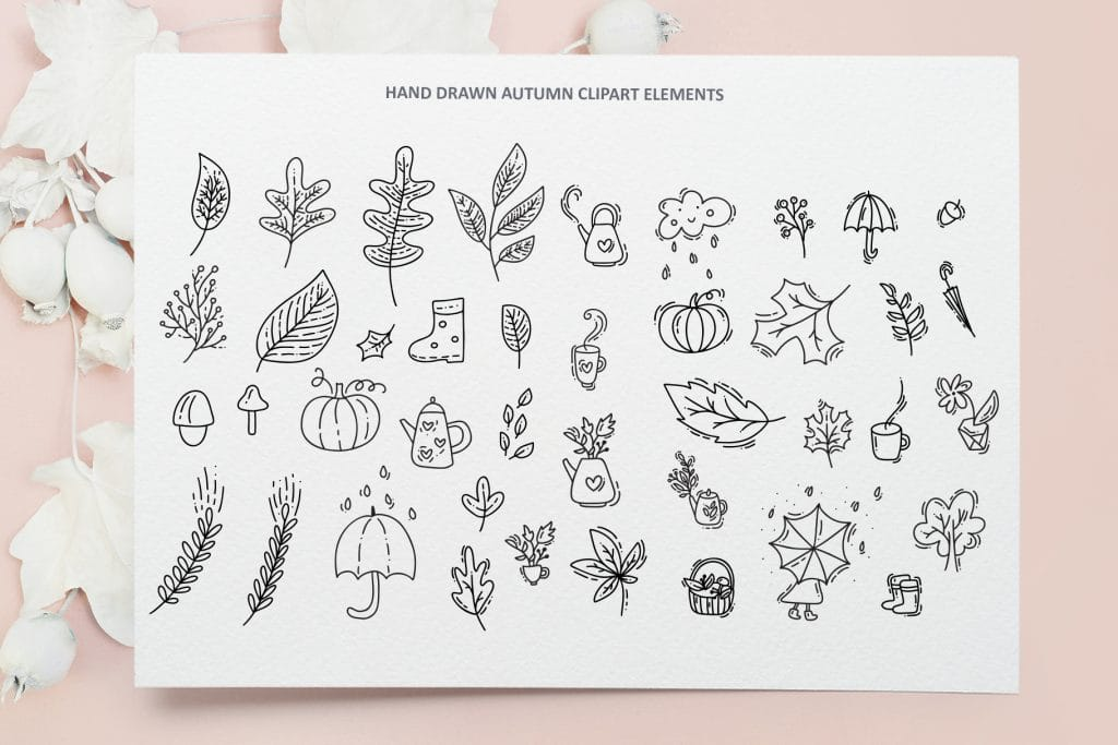 Joyful autumn clipart elements for work and life