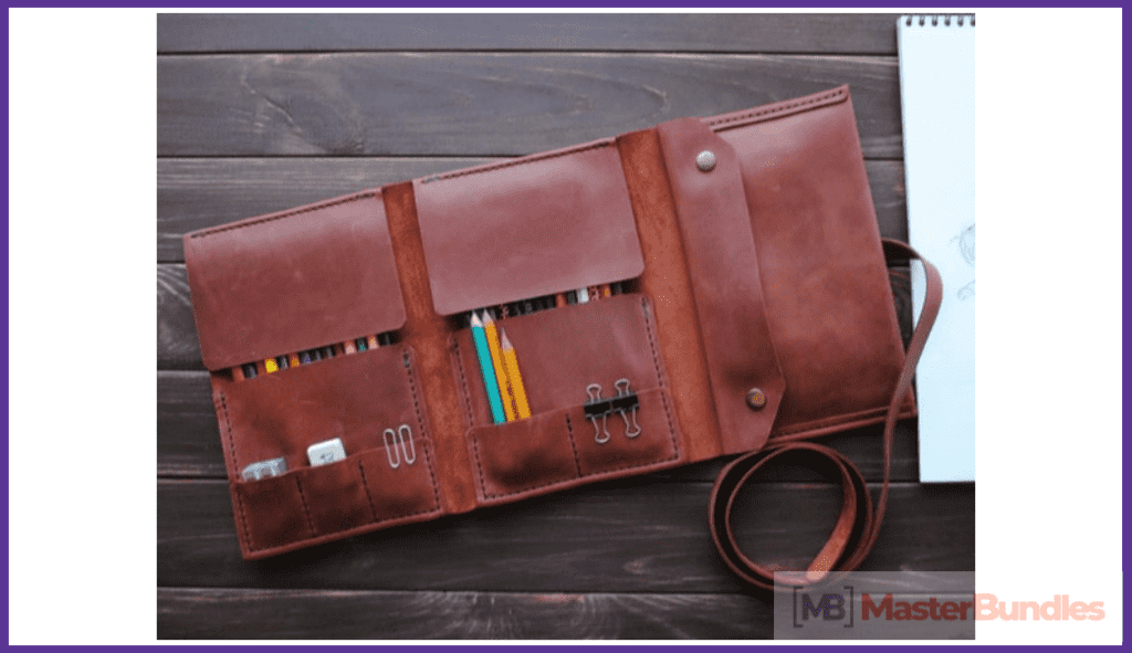 Leather Pencil Case. Christmas Gifts for Artists