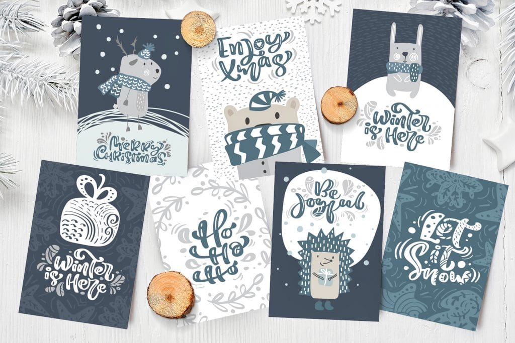Lovely Greeting Cards In Scandinavian Christmas Design