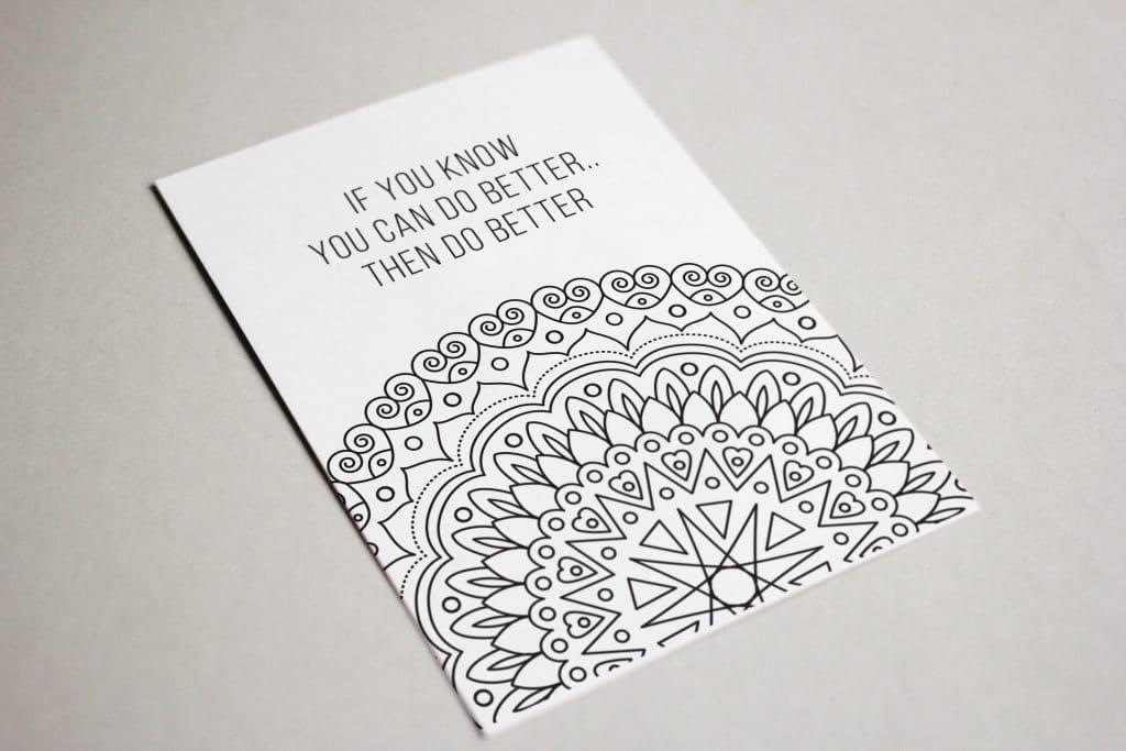 Motivational Coloring Postcard