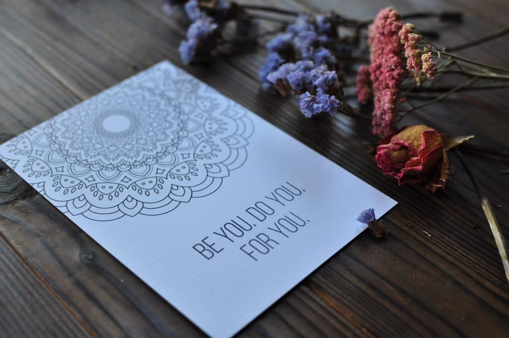 Motivational Mandala Coloring Postcard be You For Do You For You