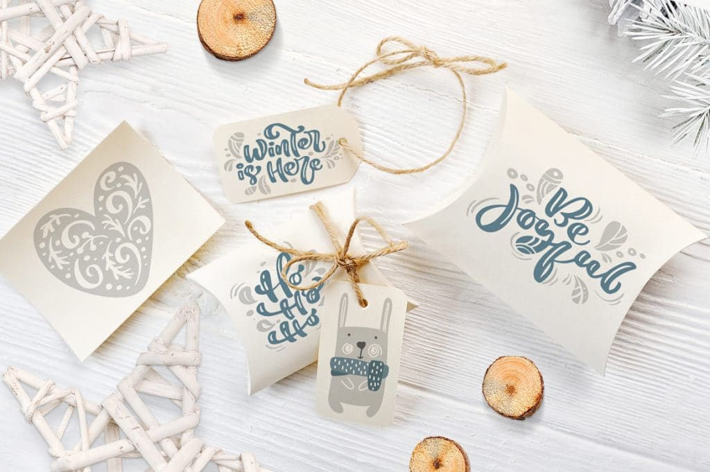Nice Paper Boxes And Gift Tags With Christmas Lettering