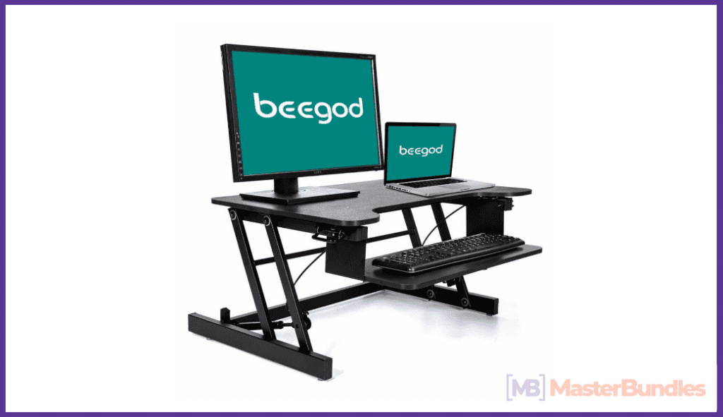 Standing Desk, beegod Sit-Stand Workstation Desk Riser with Wide Platform and Adjustable Height for Office Cubicles Desktops and Laptops