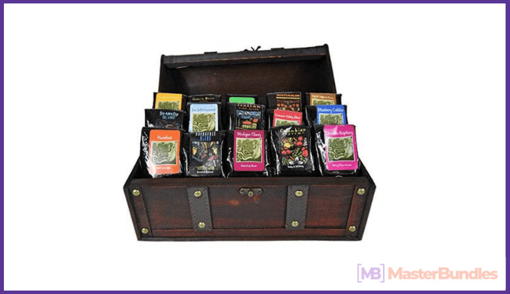 Coffee storage box. It is divided into fifteen blocks and was created in the style of the Middle Ages.
