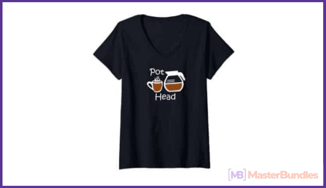 Black V-neck T-shirt with lettering and coffee cup graphic.
