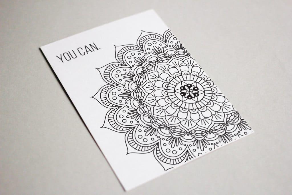 You Can Motivational Mandala Coloring Postcard