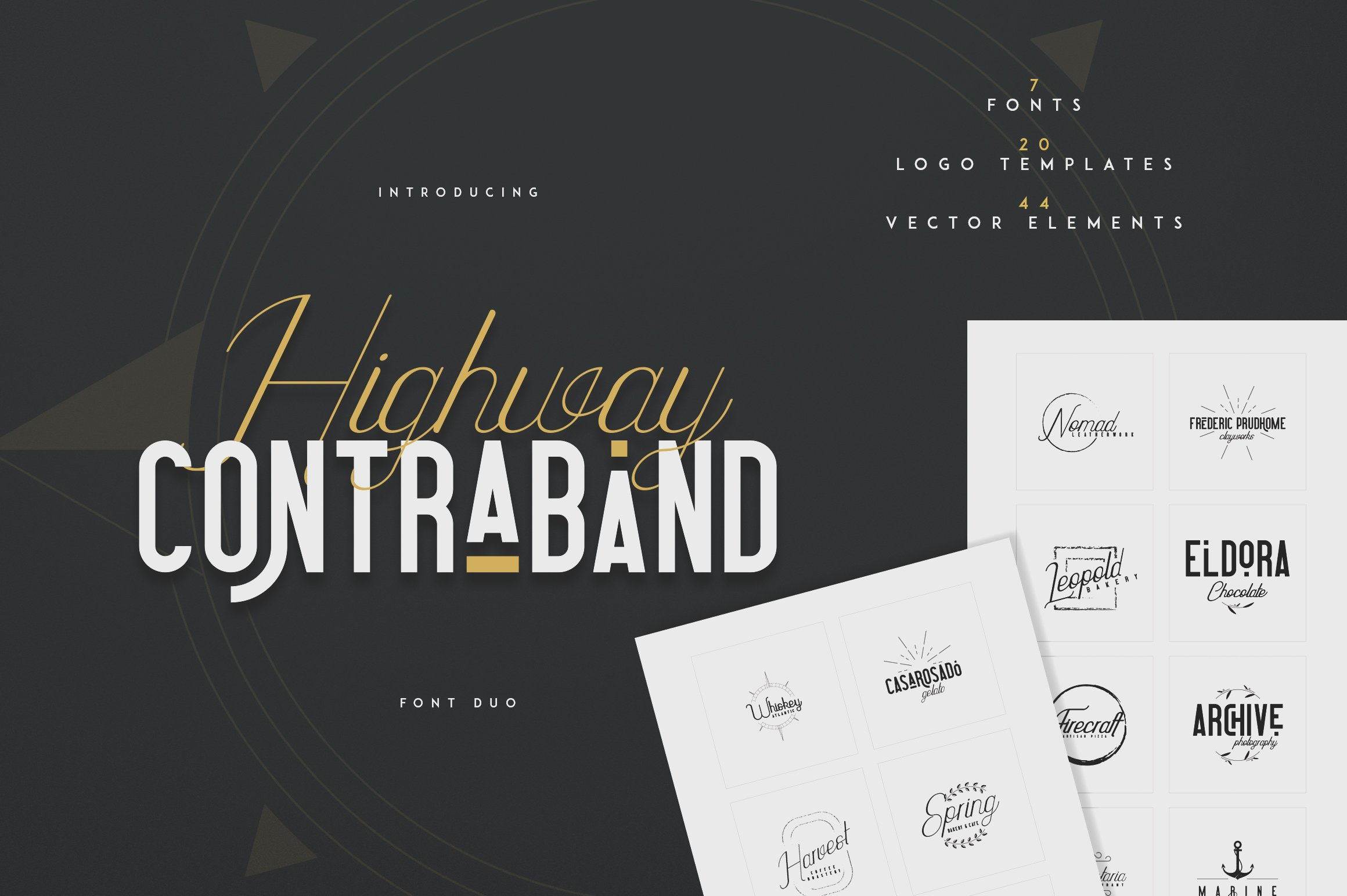 Highway Contraband Vintage Script Font Bundle: Font Duo + 20 Logo Templates + 44 Vector Elements - 1 1