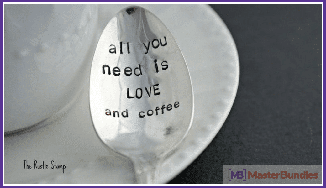 Coffee spoon with the words