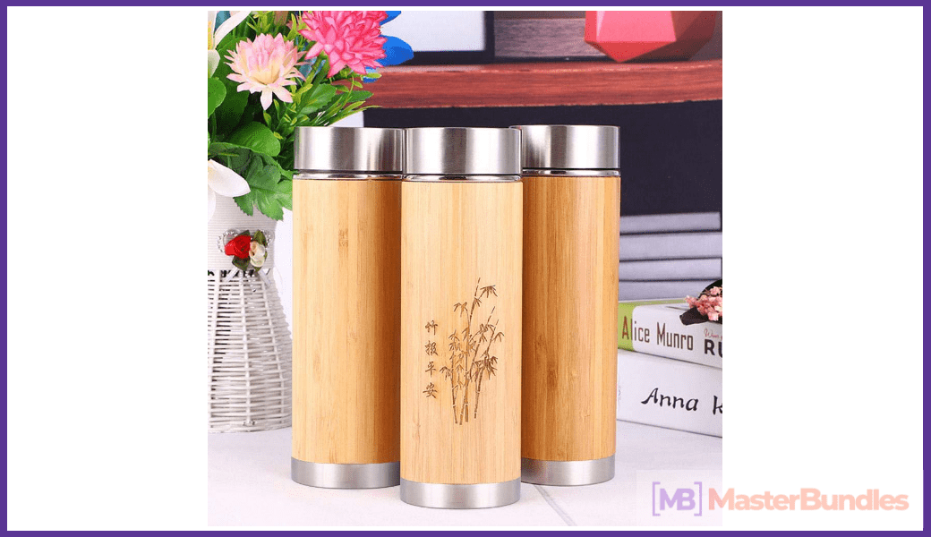Bamboo Tumbler with Tea Infuser & Strainer.