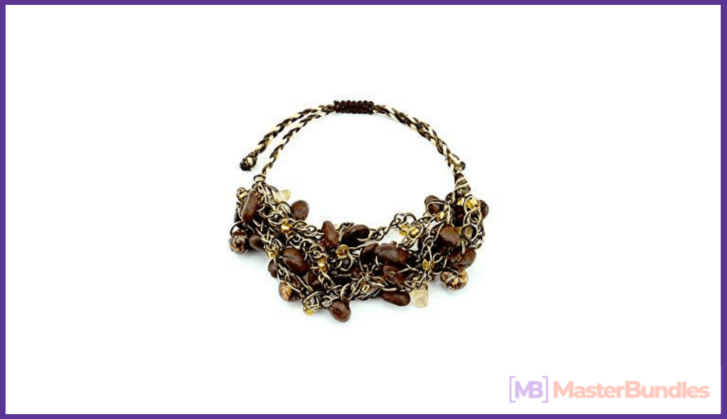 The coffee bean bracelet looks stylish and fashionable. This is a great accessory for a girl.