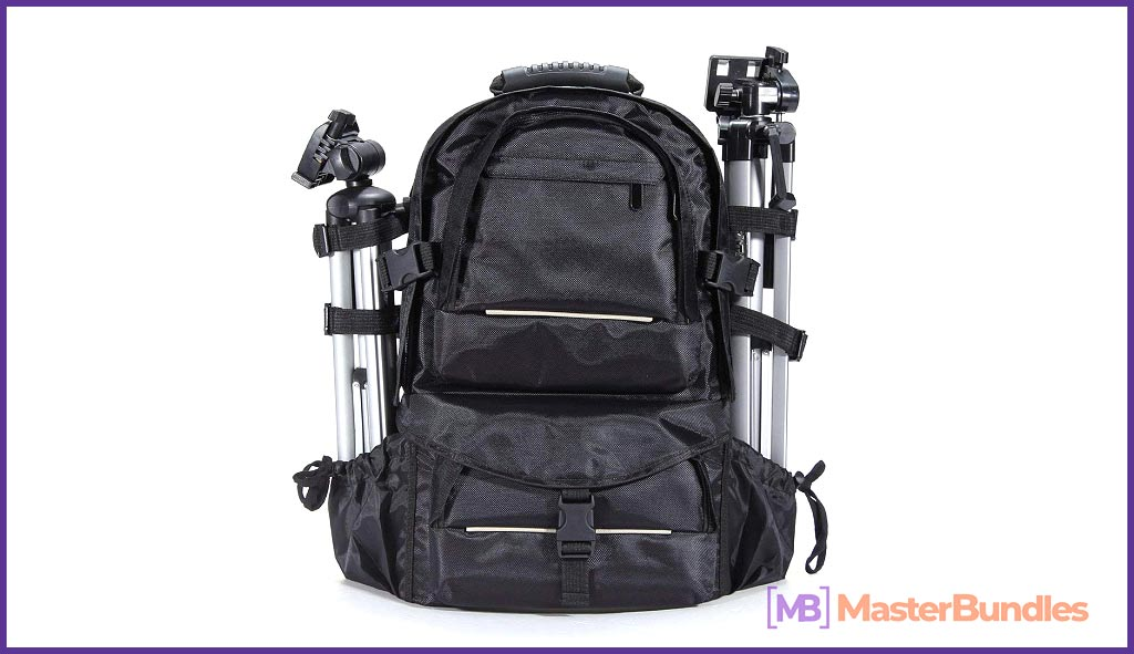 DAVITU Waterproof Nylon Camera Backpack Bag with Rain Cover