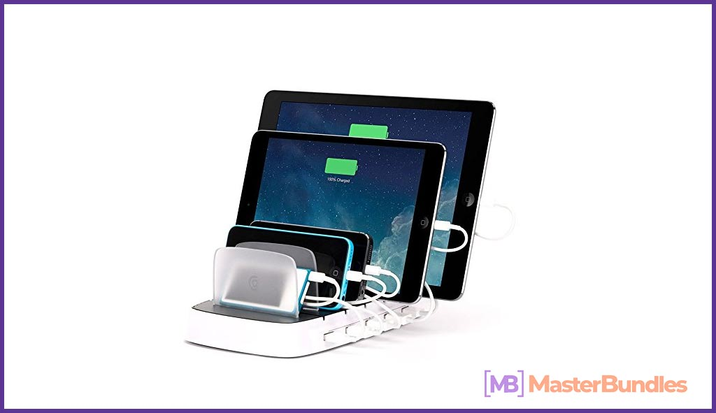Multiple power bank. It is capable of charging several devices at the same time.