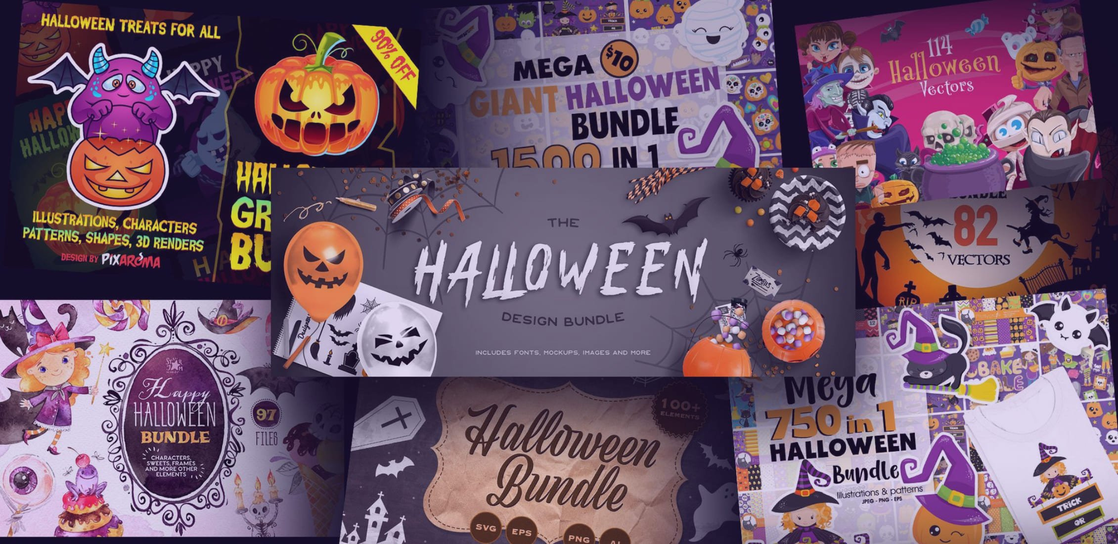 Thanksgiving Cards 2020: 60 Cards to Surprise Your Loved Ones + 30 Thanksgiving Designs for Creating Custom Cards - halloween design bundles
