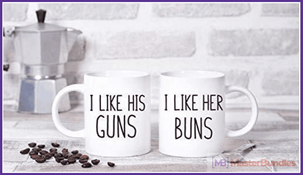 Cups for lovers and coffee lovers at the same time. The classic design and simple font will suit any decor.