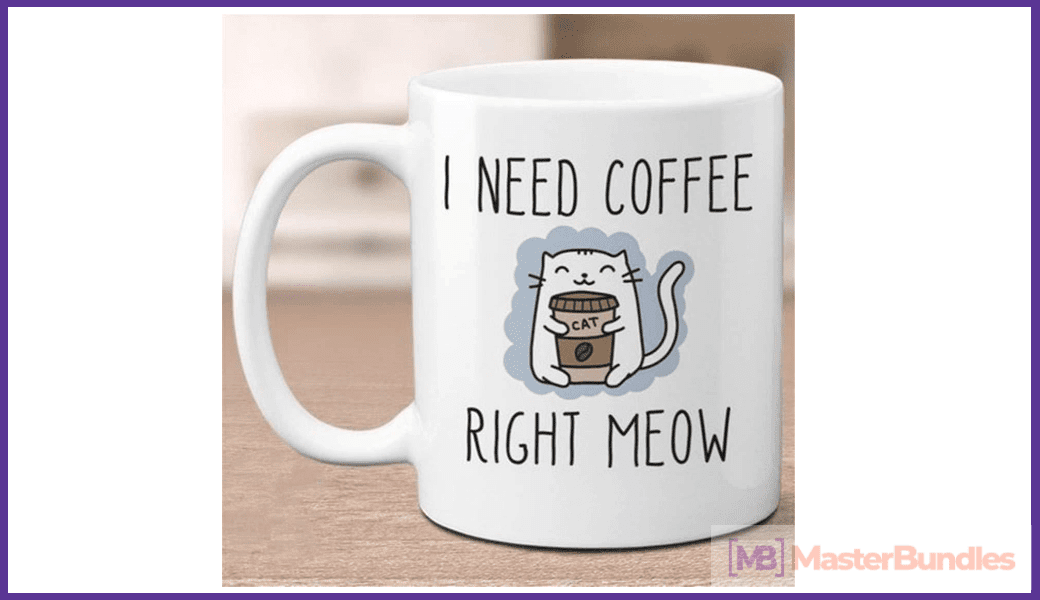 Nice cup for coffee lovers, which depicts a cat in an embrace with a cup of coffee.