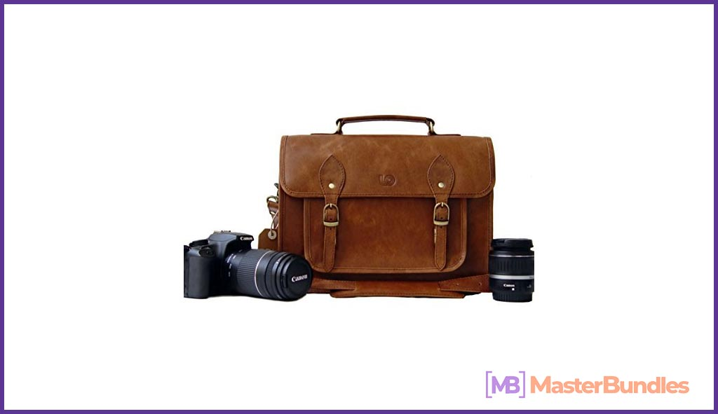 Leftover Studio DSLR Mirrorless SLR Camera Bag Case 15 inch in Rustic Crunch Cow Leather