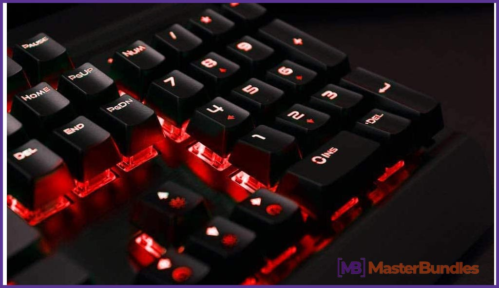 Mechanical Gaming Keyboard,Rii K61C USB Wired 104keys Anti-ghosting Mechanical Programmable Gaming Keyboard,Blue Switches with 3 Macro Keys,Red LED Illuminated Backlit for PC, Windows and Mac