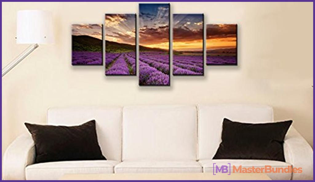 Wieco Art Purple Flowers Giclee Canvas Prints Wall Art Paintings