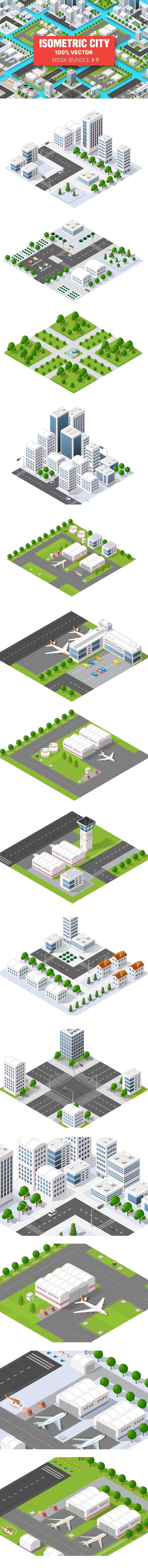 Isometric Set Terminal Airport