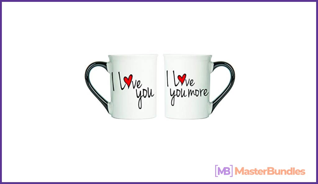 Cottage Creek Couple Gifts Set of Two I Love You I Love You More Coffee Mugs. Valentine's Day Presents for Graphic Designers.