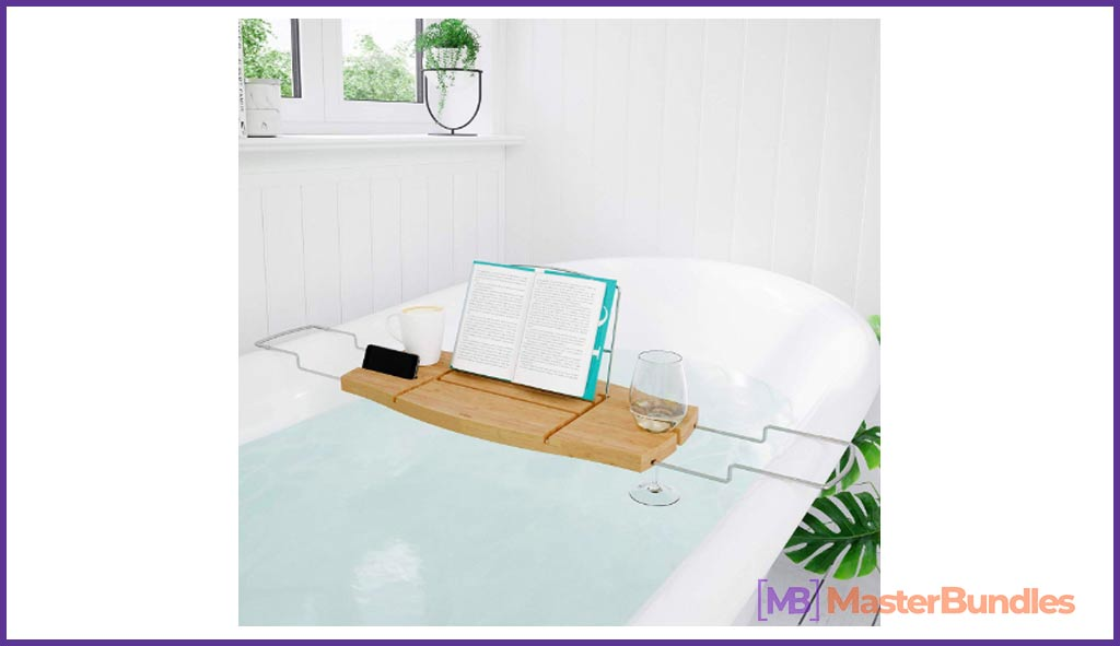 Bamboo and Chrome Extendable Bathtub Tray Caddy