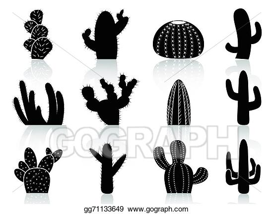 Cactus Silhouettes. Cactus clipart.