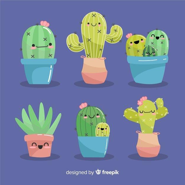 Hand-drawn Kawaii Cactus Set. Cactus clipart.