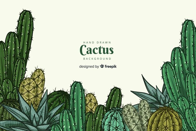 Hand-drawn Cactus Background. Cactus clipart.