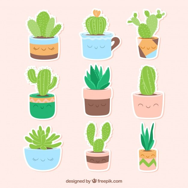 Funny Variety Cactus Stickers