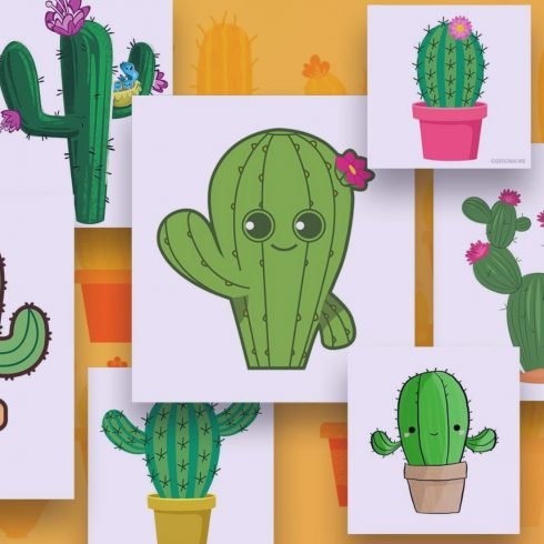 Cactus Clipart. Several painted beautiful cacti.