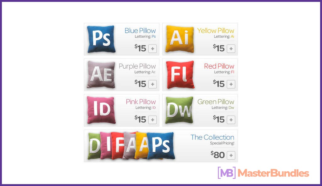 Bright and colorful pillows with service titles for graphic designers.