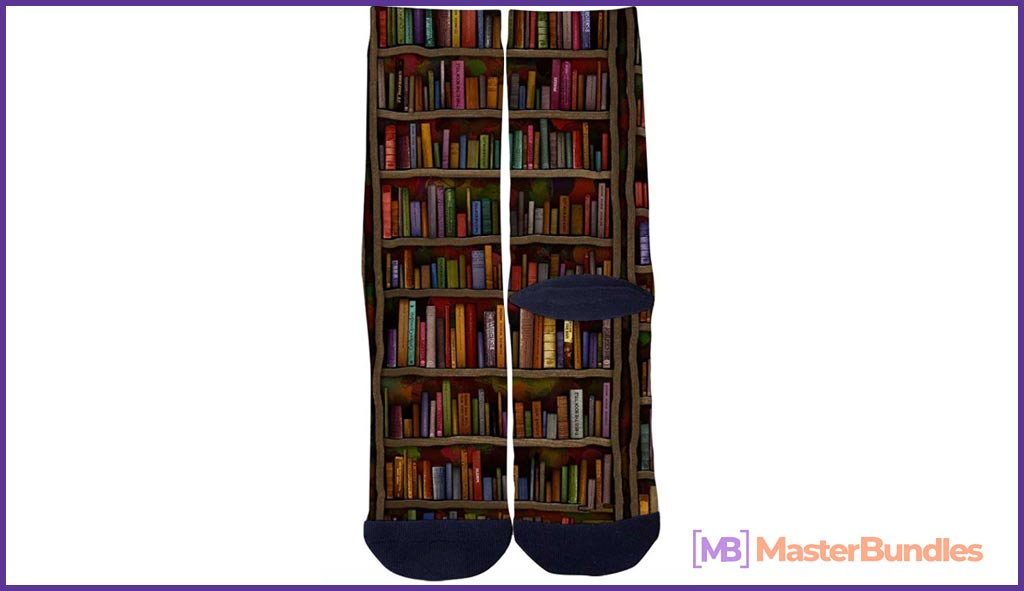 Customized Literary bookshelf Socks
