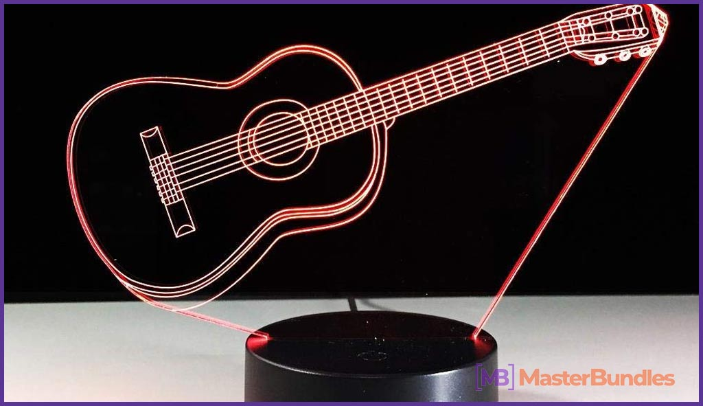 CYKEJISD Music Guitar Bass 3D Led Lamp. Gifts for Musicians.