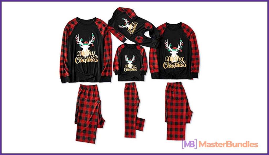 Cute pajamas in traditional Christmas colors for the whole family.