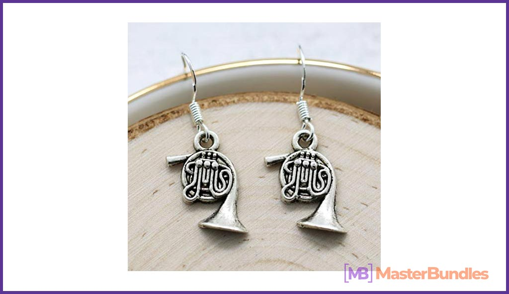 French Horn Earrings. Gifts for Musicians