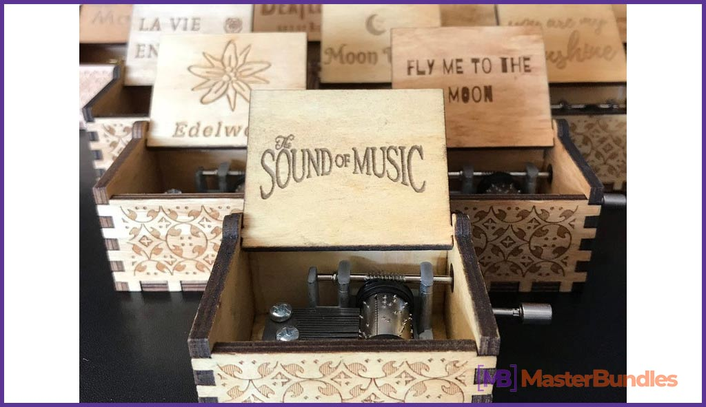 Hand-cranked Wooden Music Box. Gifts for Musicians.