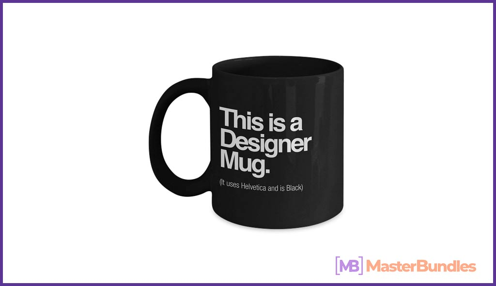 A black cup that identifies the designer.
