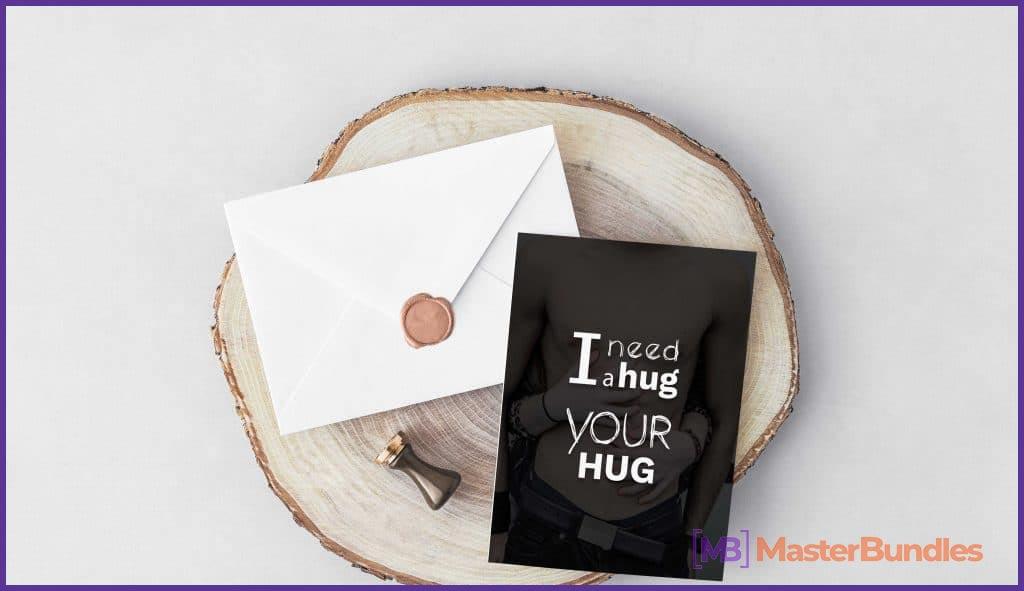 I need a Hug Valentine's Day Typography Postcard